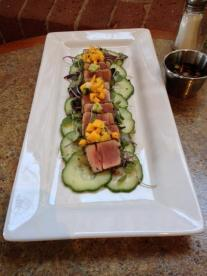 Waterworks Cafe | Peppered Tuna Tataki served over sliced cucumber with Micro Green Mango Salad and fresh ginger sauce. I could probably live off this for the rest of my life.