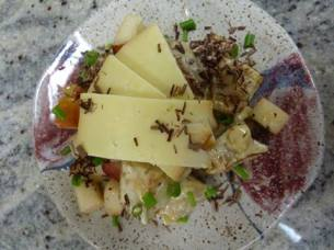 Dancing Lion | Yuzu Potato Salad with smoked cheddar, organic sauteed pears, chive and 68% dark Nyangbo