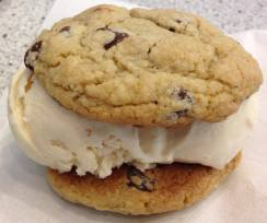 Granite State Candy Shoppe | Trial run of chocolate chip cookie ice cream sandwiches