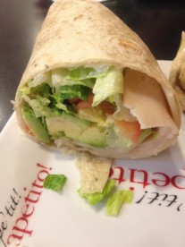 B&B |Supreme Turkey Wrap with turkey, avocado, swiss, lettuce, tomato, and mayo