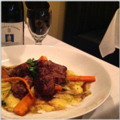 Piccola | beef tenderloin special with a D'asti red wine sauce over cheesy polenta.