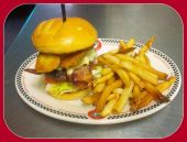 Red Arrow Diner | Fried Pickle Bacon Cheeseburger w. fries