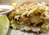 Dancing Lion | uzu-marinated portobello mushroom summer rolls with warm apple-mushroom salad and sesame & Bolivian dark chocolate dipping sauce.