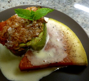 Dancing Lion | Plum & rice-stuffed pepper with roasted watermelon and Ivoire cream sauce.