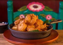 Margartias | Camarones - lightly fried shrimp served with mild three-pepper sauce