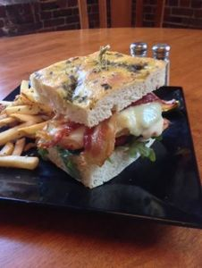 Waterworks Cafe | Chicken Avocado Melts w provolone, bacon, tomato, arugula and ranch on Rosemary focaccia