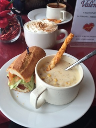 Finesse | corn chowder and sandwich