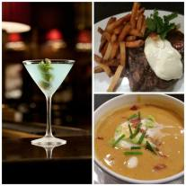 Hanover Street - Spice rubbed porter house - sweet potato soup- martini