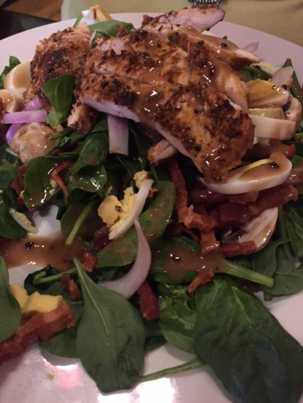 Ignite | Spinach salad with blackened chicken