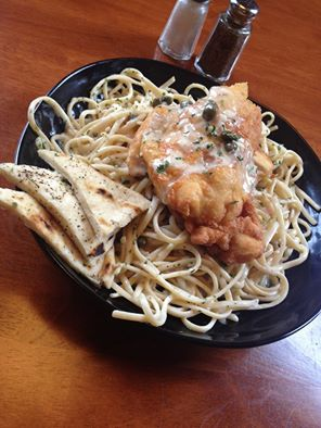 "Waterworks Cafe | Chicken Picatta ""Lightly Battered Chicken Breast topped with White Wine Lemon Caper Sauce over Linguine Pasta"" Image via Facebook"