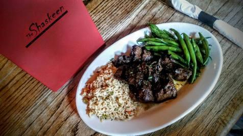 The Shaskeen | bourbon marinated steak tips