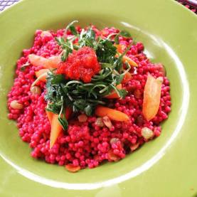 XO on Elm - Beet Infused Israeli Cous Cous