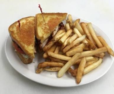 Red Arrow Diner | BBQ Chicken Melt, served with french fries